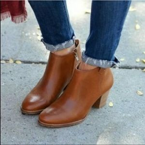 Madewell The Billie Boot Cognac Leather Ankle Boots